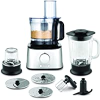 Kenwood FDM302SS Multipro Compact Food Processor, 2.1 Litre Bowl, 1.2 Litre Thermo-resist Glass Blender, Dough Hook, Whisk, Reversible Slicing and Grating Discs, Spice Mill, 800 W