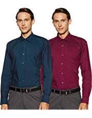Amazon Brand - Symbol Men's Solid Formal Shirt (Combo Pack of 2)