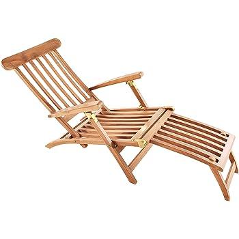 SAM Teak-Holz Deckchair Puccon, Verstellbare Sonnenliege, klappbar ...