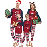 Aiboria Set Pigiama Natale Famiglia, Pigiama Due Pezzi Manica Lunga Cotone Invernale, Pigiama Natalizio Famiglia Colore Rosso