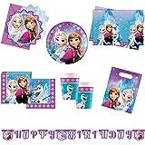 Procos 10110970 – party set Disney Frozen norrsken XL, 51 delar, 8 tallrikar, 8 koppar, 20 servetter, 1 bordsduk, 6 inbjudnin