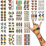 Phogary LGBT Gay Pride Tatouages Temporaires (100+ pcs, 20 feuilles), Tatouages Arc-en-ciel, Stickers imperméables pour la pe