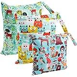 Bolsa de Pañales, BelleStyle 3 Pcs Reutilizable Wetbag, Impermeable Lavable con 2 Cremallera para Mamá de Bebé, Transpirable