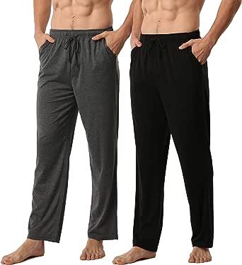 Mens Pyjamas Bottoms 2 Pack Ultra Soft Comfy Knit Men Lounge Pants with Pockets Pyjama Trousers