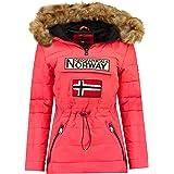 Geographical Norway Belinda Lady - Parka caldo da donna, con cappuccio in pelliccia, passamontagna, invernale, fodera calda d
