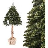 FairyTrees Weihnachtsbaum künstlich im Topf FICHTE NATURSTAMM, Grün, Material PVC, Baumstamm aus echtem Holz, 180cm