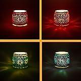 Lot de 4 Photophore marocain en verre Ajub 7cm coloré   Bougeoir Lanterne marocaine pour l'extérieur au jardin l'intérieur su