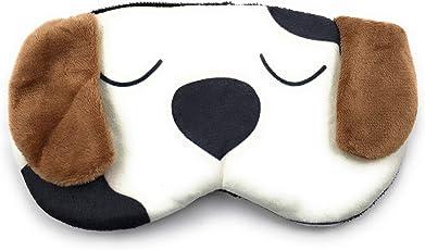 24x7 eMall Cute Dog Eye Shade Cartoon Blindfold Eyes Cover Sleeping for Proper Sleep (White Dog) - Pack of 1