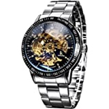 Carrie Hughes Men's Steampunk Automatic Mechanical Discoloration Glass Skeleton Stainless Steel Watch