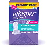 Whisper Clean and Fresh Daily Liners 40 Count Sanitary pads for women