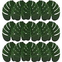 ExeQianming Lot de 15 feuilles de palmier artificielles pour décoration hawaïenne, luau, safari, jungle, plage, fête à…