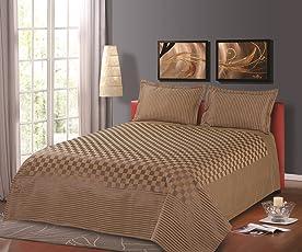 Cloth Fusion 300TC Polyester Cotton Prima Checkered Single Bed Cover (60x90-inch, Brown)