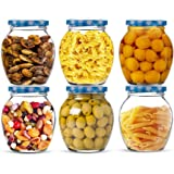 Star Work Glass Jars for Kitchen | Jar for Dried Masala | Honey | Spices Matka Storage Containers (400ml | Pack of 6)