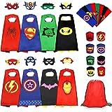 Jojoin 8Pcs Capas de Superhéroes para Niños, Capas de Disfraces de Superhéroes, Conjunto de 8 Capas, 8 Máscaras, 8 Pulseras,