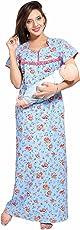 Soulemo Women's Pure Cotton Feeding Nighty/Maternity Dress 399
