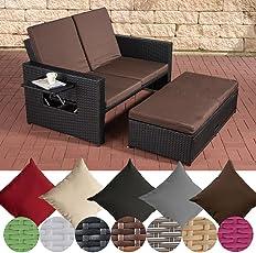 CLP Polyrattan 2er-Loungesofa ANCONA I Garten-Sofa mit ausziehbarem Fußteil und verstellbarer Rückenlehne I In verschiedenen Farben erhältlich