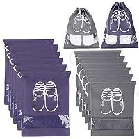 Xddias 12 Pezzi Borsa Scarpe da Viaggio, Impermeabile Scarpe Borse Antipolvere Non Tessuto con Finestrella Trasparente