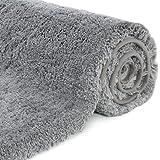 Lifewit baño Mat Gris, Microfibra Suave Shag Super Agua Absorbente No-Slip Rubber Baño Rug, Grueso, Máquina Lavable, 80 x 50