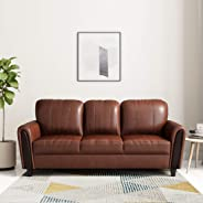 Amazon Brand - Solimo Bliss Leatherette 3 Seater Sofa (Brown)