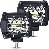 URAQT Focos LED Tractor, 60W Faro Trabajo Led 4 Pulgadas, 2pcs Superbrillantes LED Faros de Trabajo, Luz antiniebla para Cami