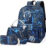 School Bag Kids 3-in-1 Bookbag Set, Junlion Music Boy Laptop Backpack Lunch Bag Pencil Case Gift for Teen Boys