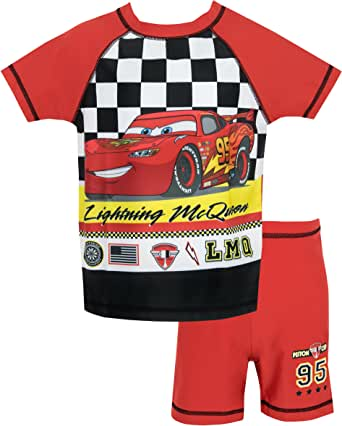 Disney Cars Boys Lightning McQueen Two Piece Swim Set Ages 18 Months to 7 Years
