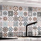 KINLO Papel Pintado Pared Adhesivo con la Imagen Mosaico Retro Colores, Pegatina de PVC para Decorar Azulejos Muebles Cocina