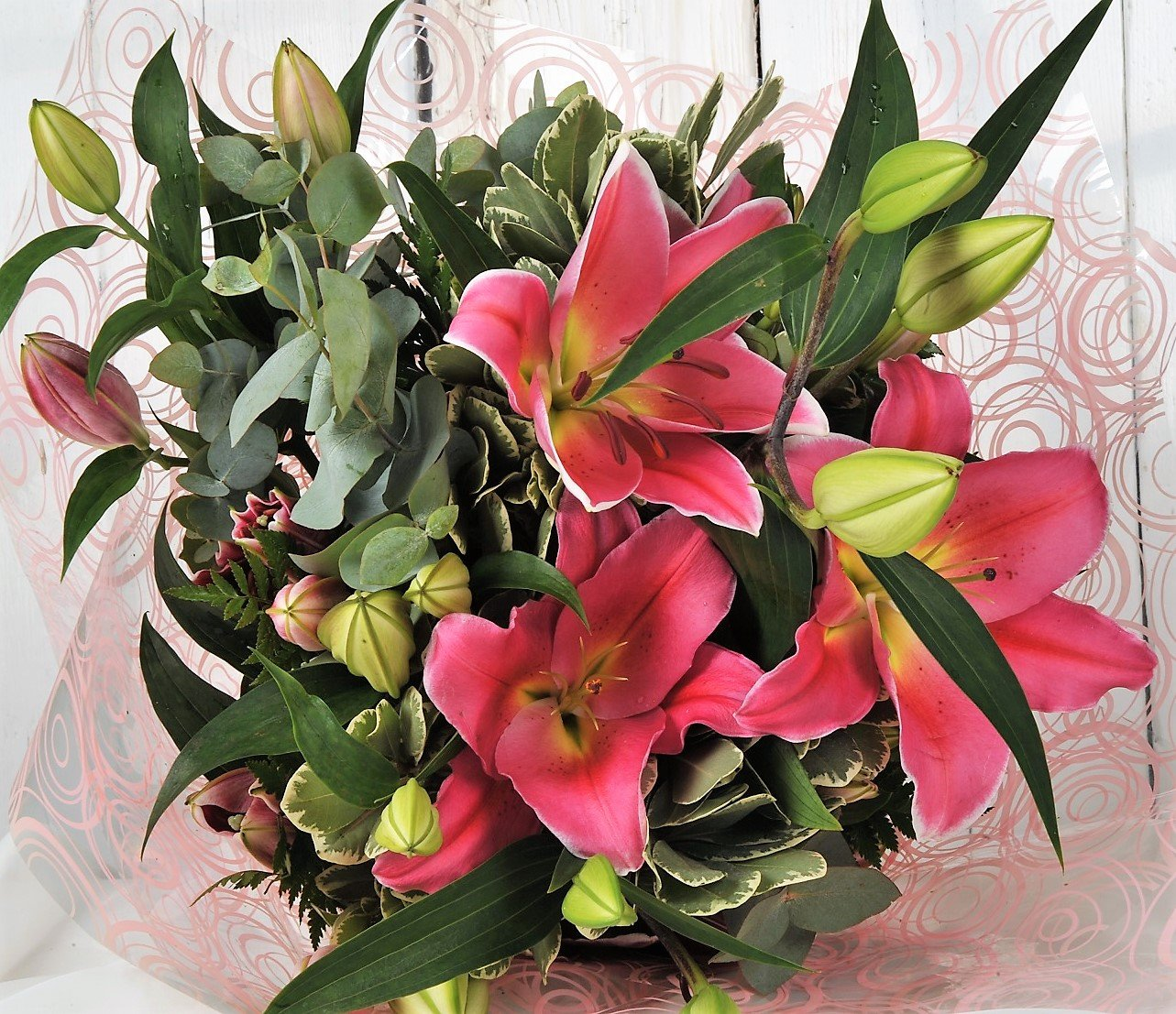 Perfect Pink Oriental Scented Lilies Delivered With Handwritten Card Fresh Flowers FREE UK Next Day Delivery 7 Days A Week Send Gift Wrapped For Happy
