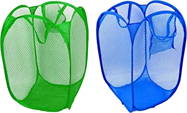 (2 Pcs) Net Designer Multicolor Laundry Basket, Bag for Cloth Storage