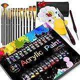 Buluri Colori Acrilici per Dipingere, 24 Colori Colori Acrilici Set Pittura per Bambini, Principianti e PRO. con 15pz Pennell