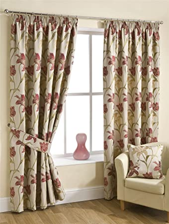 Homescapes Red Cream Pencil Pleat Jacquard Curtains Pair Width 90 ...