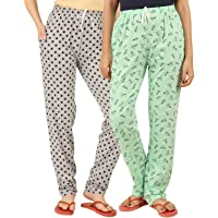 Peach Blossom Women's Cotton Printed Nightwear Pajama - Combo of 2