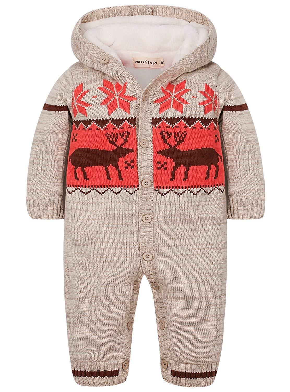 ZOEREA Baby Jungen Mädchen Weihnachten Elch Winter Strickjacke Pullover Strampler Babymode Lange Ärmel mit Kapuze…