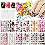 Kalolary 12 dozen Kinderen valse nagels, Druk op Pre-Glue Full Cover Valse nagels met 2 STUKS dubbelzijdige lijm Nagelsticker