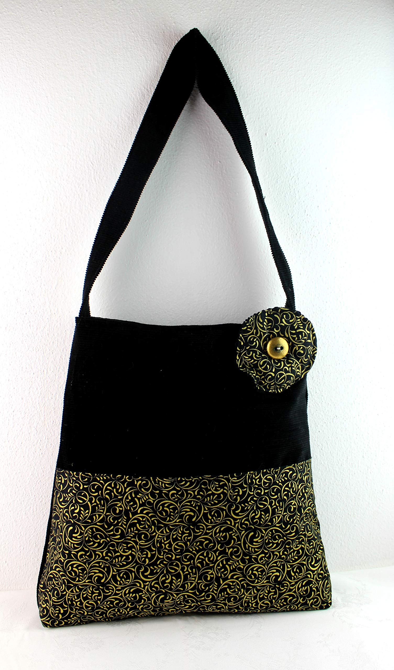 Shoulder bag in Velvet and Batik (Cotton) artistic - brown - black - handmade-bags