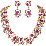 BriLove Women's Tribal Ethnic Crystal Mix-Shape Cluster Statement Necklace Dangle Earrings Set