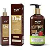 WOW 10 in1 Miracle No Parabens & Mineral Oil Hair Oil, 200mL And WOW Apple Cider Vinegar No Parabens & Sulphate Shampoo…