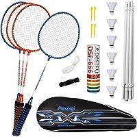 Airsnigi Badminton Set, 4er Profi Badmintonschläger mit 4 Federbälle Set, Leichtgewicht Badminton Schläger…