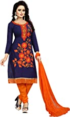 Ethnicset Women's Blue Cotton Embroidered UnStiched Salwar Suit [whale-blue_Free_size]