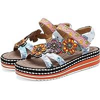 gracosy Sandales en Cuir Pu Femmes, Sandales Nu-pieds Mode à Scratch Chaussures d'été Fleurie à talons Compensés Marche…
