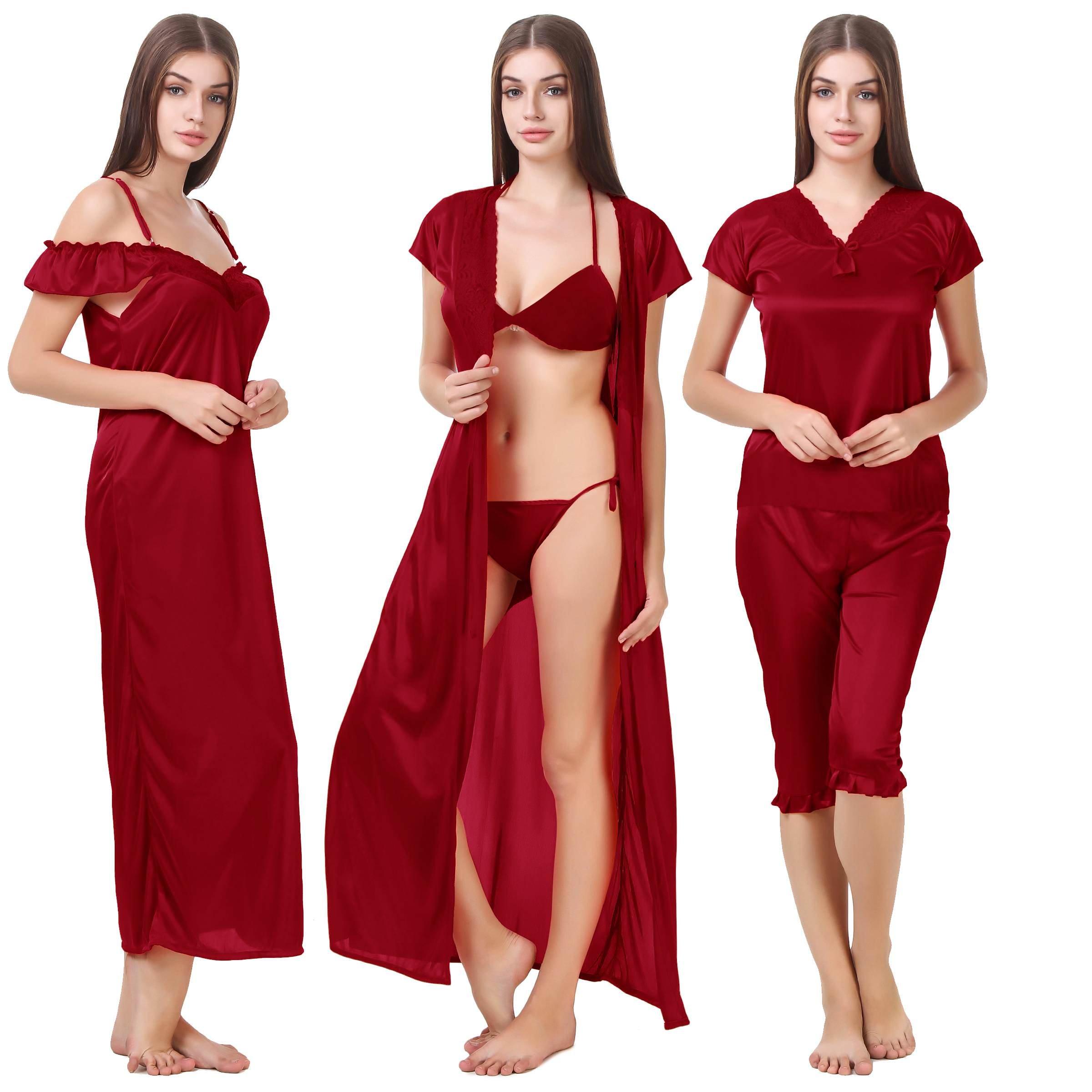 9528d736e MILIT Satin Nightwear 6 Pcs Set of Nighty
