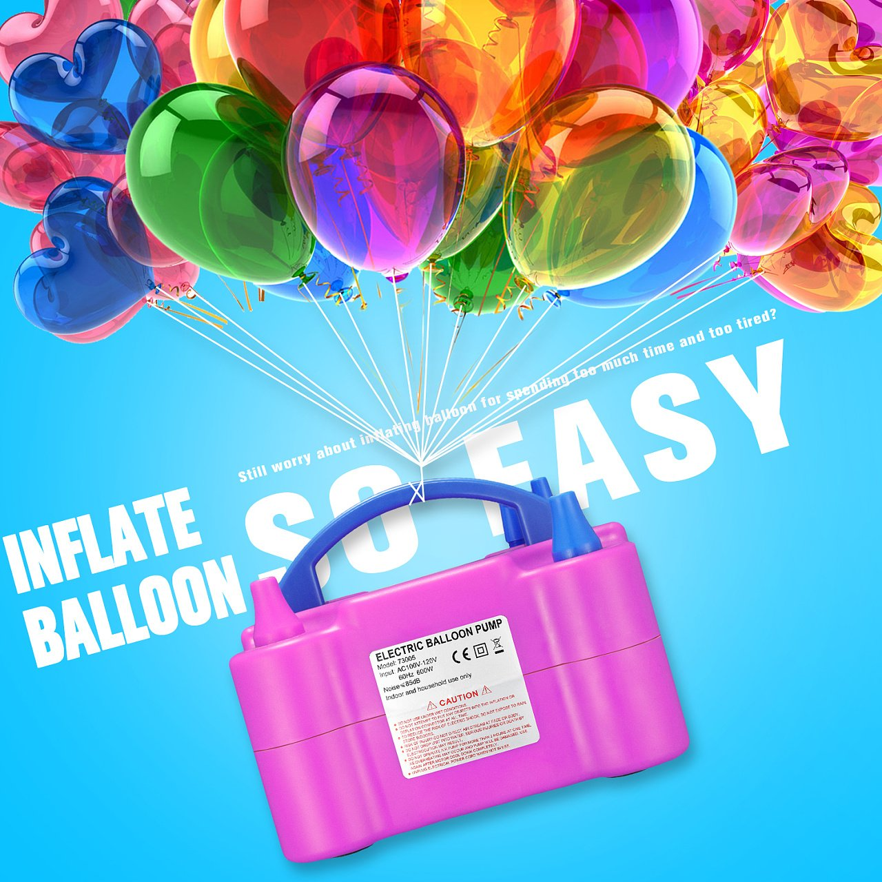 Zecti Luftballonpumpe 600 Watt Elektrische Ballonpumpe Aufblasgerat