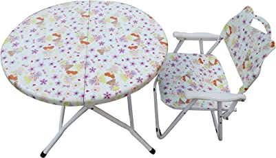 """""""Amaze"""" Folding Baby kids children printed portable outdoor study dining furniture play group Table- 1 Chair Set (Doll)"""