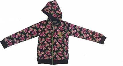 Zipper FOR GIRLS pink flowers with black base