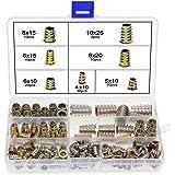 HSEAMALL Zinklegering Meubels Hex Socket Schroef, M4 M5 M6 M8 M10 Schroefdraad Insert Noten Hout Schroeven Assortiment Kit,12