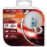 OSRAM NIGHT BREAKER LASER H7, +150% di luce in più, lampada alogena per fari, 64210NL-HCB, 12V, scatola doppia (2…