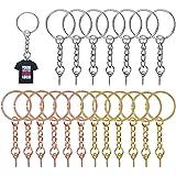 Kalolary 60 stuks sleutelringen sets, metalen gespleten sleutelhangers met schakelketting, oogschroeven en open springringen