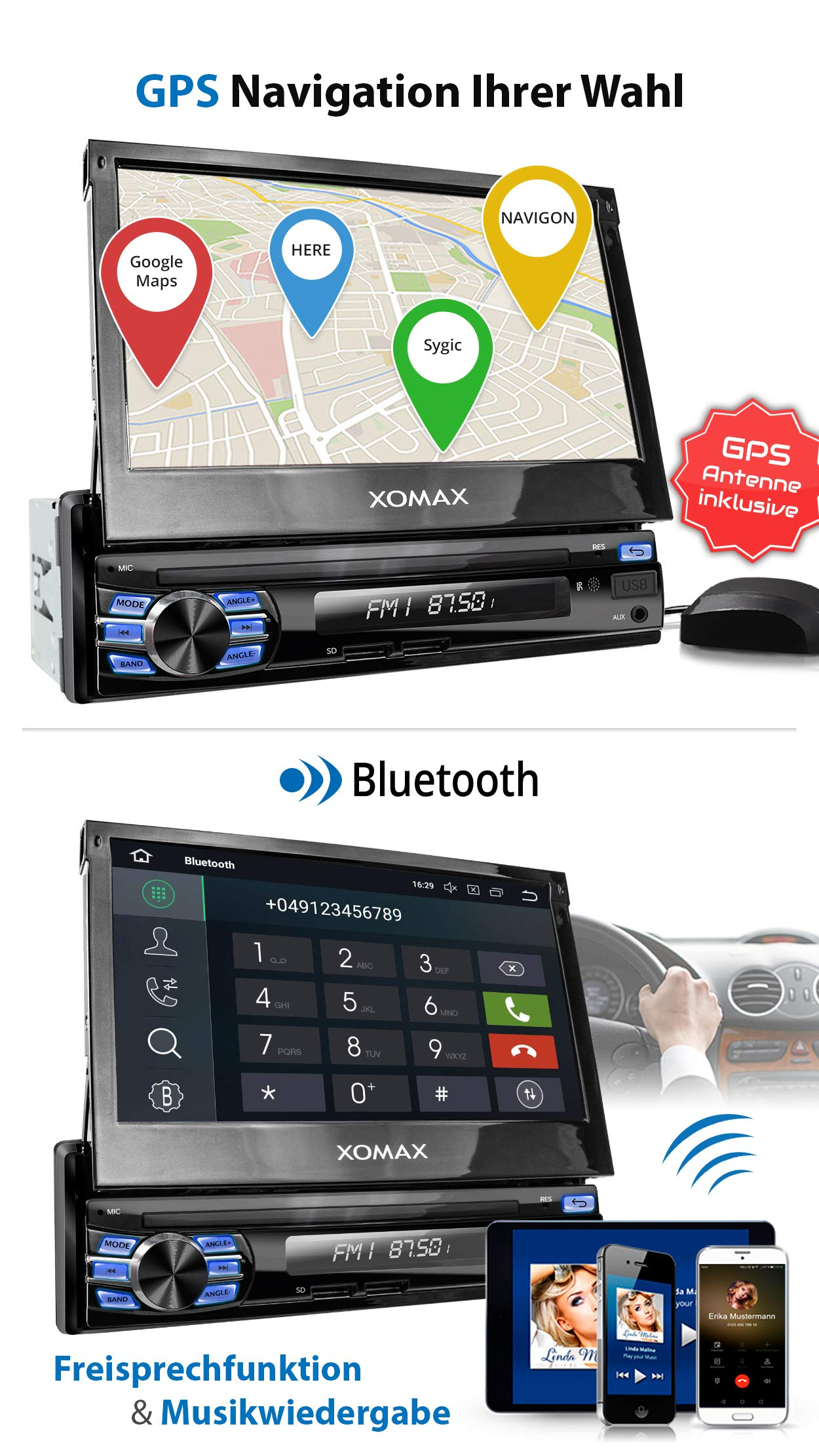 XOMAX-XM-VA707-Autoradio-mit-Android-81-QuadCore-2GB-RAM-16GB-ROM-GPS-Navigation-I-Support-WiFi-WLAN-3G-4G-DAB-OBD2-I-Bluetooth-7-Zoll-18-cm-Touchscreen-USB-SD-AUX-1-DIN