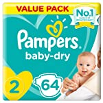 Pampers New Baby-Dry Diapers, Size 2, Mini, 3-8kg, Jumbo Pack, 64 Count