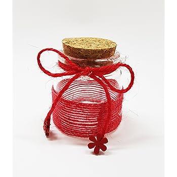 takestop® Set 12 BOMBONIERA BOMBONIERE ampolla Rosso 5x5CM in Vetro Tappo  Sughero Nastro PORTACONFETTI Confetti Matrimonio Wedding 0c49d1f21763